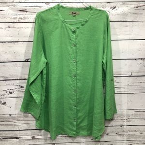 Flax linen tunic top lagelook seamed scoop neck